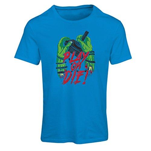 Camiseta mujer ¡Juegue o muera - solamente para jugadores ! Azul Multicolor