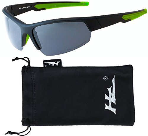 HZ Series Ascendancy - Premium Polarized Sunglasses by Hornz - Matte Black Frame w/ Neon Green Highlights - Dark Smoke - Sunglasses Black Green And