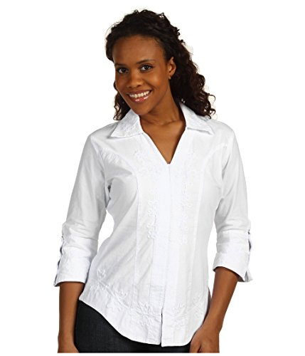 Scully Western Lady Shirt - Scully Women's 3/4 Length Sleeve Peruvian Cotton Top White Medium