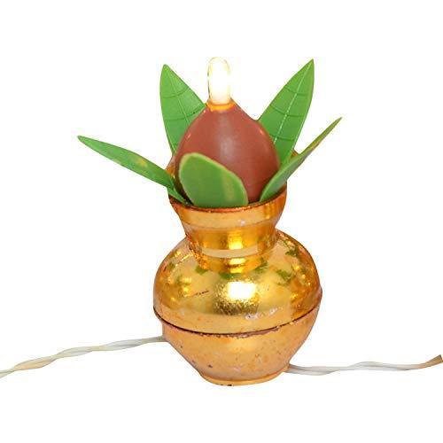 KLIP 2 DEAL Traditional Festival Electric Golden Led Kalash Diya String Rice Light with Hanging Diya for Ganesh…