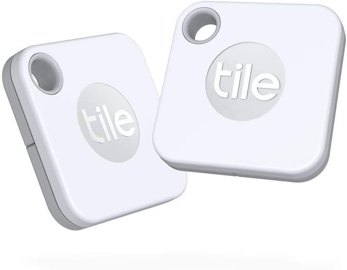 Image of two tile bluetooth tracker in white.