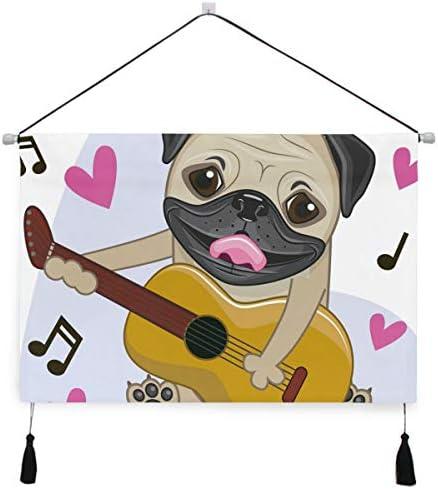 音楽ギターパグぶら下げ絵画 壁アート 吊りキャンバス 印刷 絵画 アートワーク 写真 ホーム用