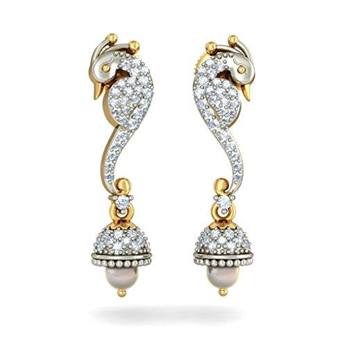 Or jaune 18K 0,47carat au total White-diamond (IJ | SI) et blanc cassé Perle Boucles d'oreilles