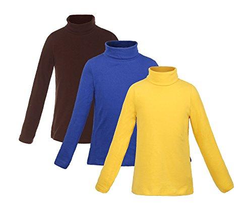 Girls Turtleneck (ReliBeauty Girls Cotton Turtleneck Long Sleeve T-Shirt, 6-6X, Dark Brown/Royal/Yellow)