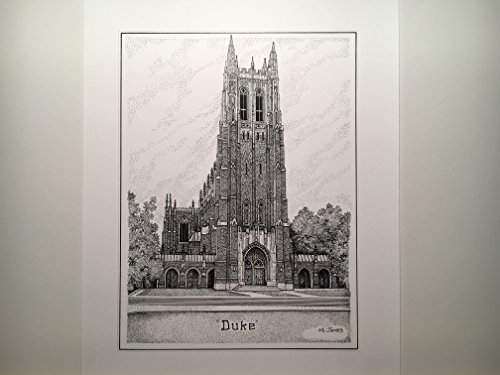 Duke University Chapel 8''x10'' hand-drawn pen and ink print by Campus Scenes