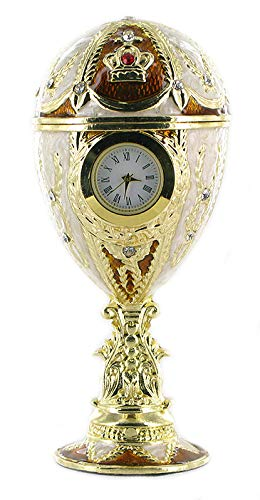 Carillon / uovo musicale di metallo in stile Fabergé con orologio di quarzo - Per Elisa (Beethoven) Lutèce Créations