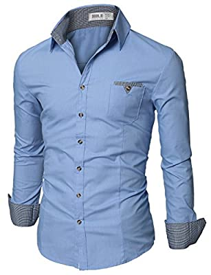 Doublju Mens Casual Shirt with Contrast Neck Band
