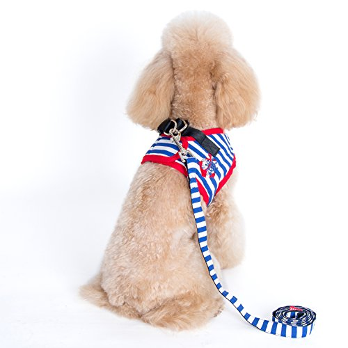 Couture - Vince Sailor Harness and Leash Set - Color Blue, Size: XS ()