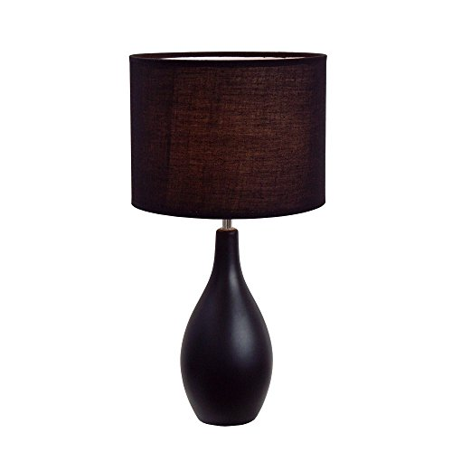 Simple Designs Home LT2002-BLKSimple Designs Oval Bowling Pin Base Ceramic Table Lamp, Black, 18.11'' x 9.45'' x 9.45'' by Simple Designs Home