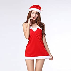 Sexy sleeveless red hanging neck strap skirts Christmas night costume,red