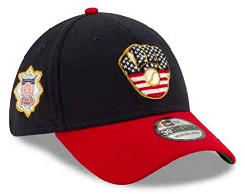 New Era 2019 MLB Milwaukee Brewers Hat Cap July 4th Flag 39Thirty 3930 (M/L) Navy/Red