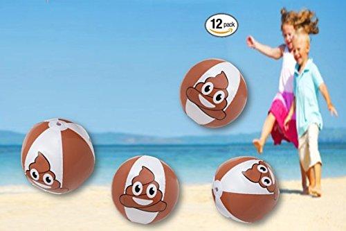 Play Kreative Poop Emoji Beach Balls - 12 Pack - 16