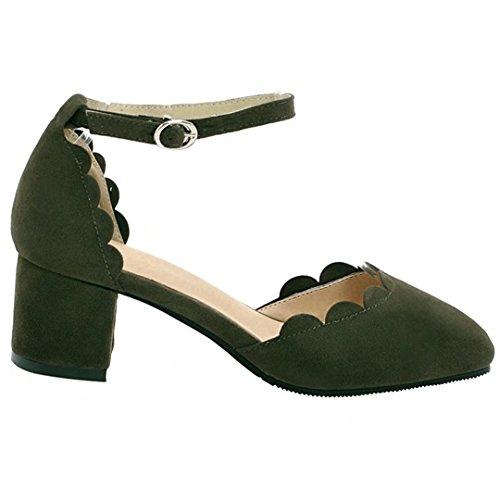 AIYOUMEI Chunky Heels Pumps mit Knöchelriemchen und 5cm Absatz Blockabsatz High Heels Damen Grün
