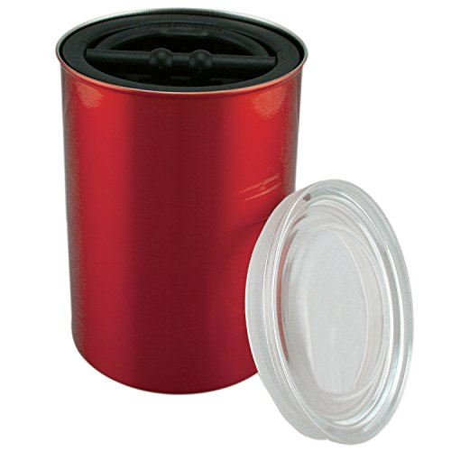(Airscape Coffee Storage Canister (1 lb Dry Beans) - Patented Airtight Lid Pushes Air Out to Preserve Food Freshness - Stainless Steel Food Container - Candy Apple Red)