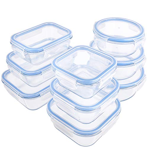18 Pieces Glass Food Storage Containers with Lids,Glass Meal Prep Containers,Airtight Leakproof Lids BPA Free,Safe for Dishwasher,Microwave, Oven, Freezer ()