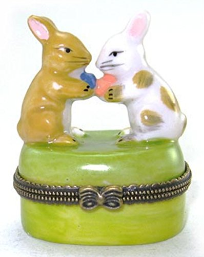 (Art Gifts Two Little Bunnies Carrying Easter Eggs Porcelain Hinged Trinket Box PHB)