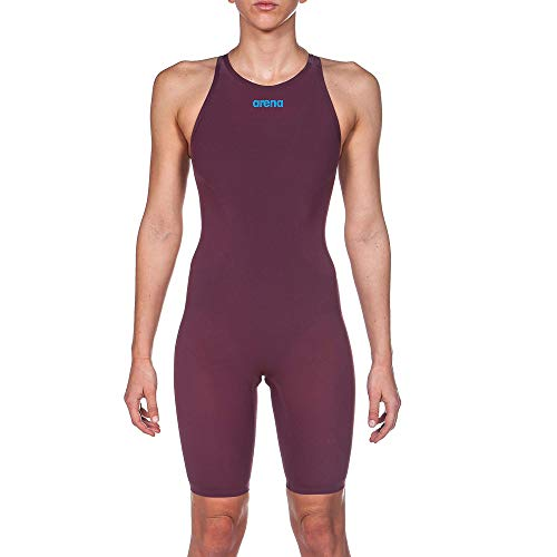 Arena Powerskin R-EVO One Women's Open Back Racing Swimsuit, Red Wine/Turquoise, 24 (Arena Competition Suit)
