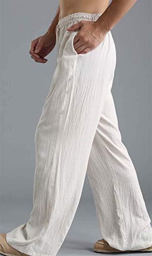 Battercake Hombres Los Del Pantalones Lino Largos Pantalón Floja Cómodo Manera De Vendimia La Casuales Blanco Ocasionales rqwArfa
