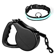 Amazon Lightning Deal 77% claimed: Dog Retractable Leash, Jellas Retractable Dog Leash 16-Feet Dog Lead Pet Leash with FREE LED Dog Collar for Small Medium Large Dogs Up to 110 Pounds. (Black)
