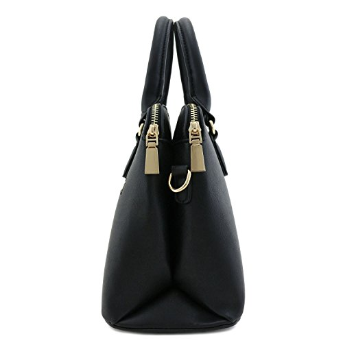 Bag Zip Handle Top Double Classic Black Satchel Dome W1aTFw5YP