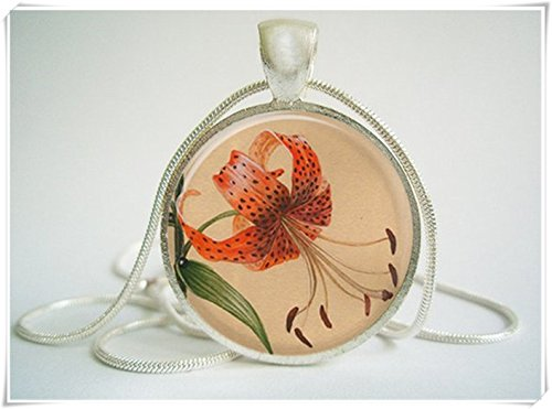 hong ben xie chang Red Orchid Vintage Style Pendant,Exquisite Jewelry, Dome Glass Jewelry, Handmade. -