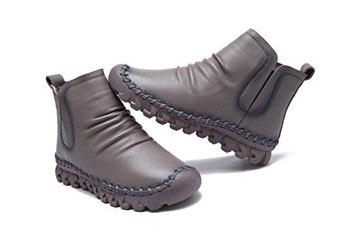 NVXIE Femmes Dames Nouveaux Loisirs Mode Flats Chaussures Simples Bottes Courtes Bottines Douces Pomme Ronde Pompes en Cuir Véritable Fête de l'automne Fête Travail GRAY-EUR38UK55 oP1NvsRX