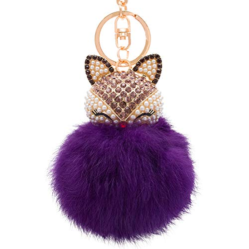 HOYUNLA Rabbit Fur Ball Pom Pom Keychain with Fox Head Inlay Pearl Rhinestone for Women Backpack Car Key Chain Decoration