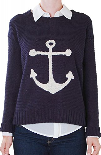 Humble Chic Women's Hobie Anchor Sweater - SMALL - Nautical Sweater