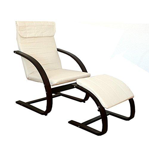 Homestyle4u Schwingsessel Freischwinger Sessel mit Hocker in natur dunkelbraun Relaxsessel Schaukelstuhl Schwingstuhl