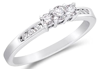 14K White Gold Diamond Classic Traditional Engagement Ring 3 Three