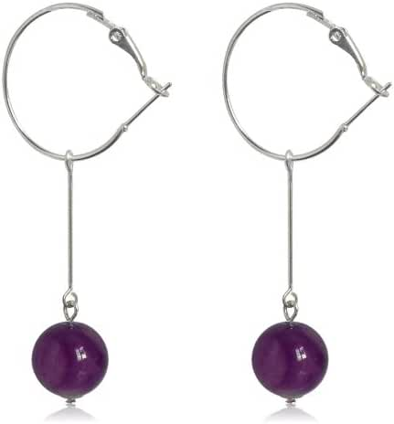 GiftJewelryShop 14MM Sterling Silver Plated Purple Round Crystal Glass Bead Dangle Earrings