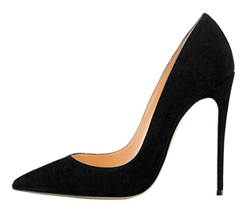 Party Stiletto High Lack Größe Heels Schuhe Mode Kolnoo Suedeblack Pumps Damen aIw7aq6
