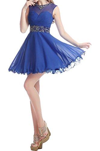 ivyd ressing Zaertlich rotondi da donna colletto a per linea corta Chiffon Party Festa Prom abito abito sera vestito blu royal 44