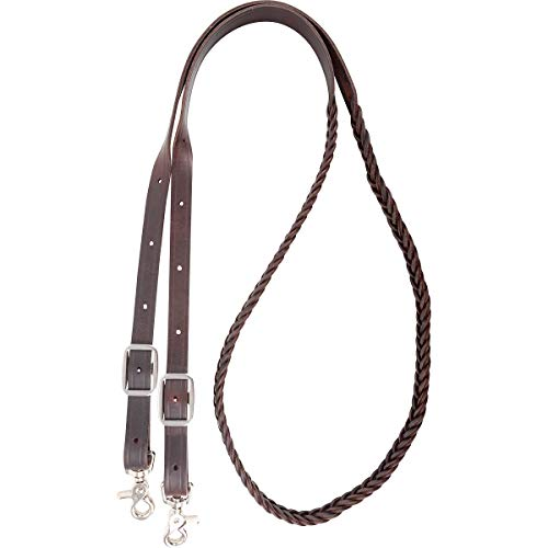 M-Royal Braided Brown Leather Western Roping Reins 4 Plait Snap