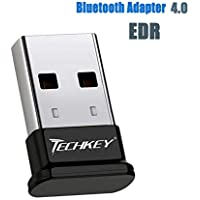 TECHKEY Bluetooth Adapter for PC USB Bluetooth Dongle 4.0 EDR Receiver Wireless Transfer for Stereo Headphones Laptop Windows 10, 8.1, 8, 7, Raspberry Pi, Linux Compatible