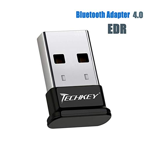 (TECHKEY Bluetooth Adapter for PC USB Bluetooth Dongle 4.0 EDR Receiver Wireless Transfer for Stereo Headphones Laptop Windows 10, 8.1, 8, 7, Raspberry Pi, Linux Compatible)