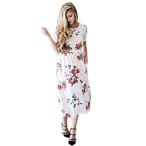 Floral Print Retro Vintage Lange Kleid,Tonsee Kurzarm Boho Dress Ladies Evening Party Maxi Kleid