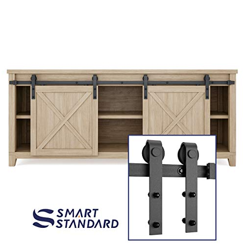 SMARTSTANDARD 6.6FT Mini Sliding Barn Door Cabinet Hardware Kit for Cabinet TV Stand Closet, Black, One-Piece Track Rail, Easy to Install, Fit 26 Wide Single DoorPanel, J Shape Hanger (NO Cabinet)