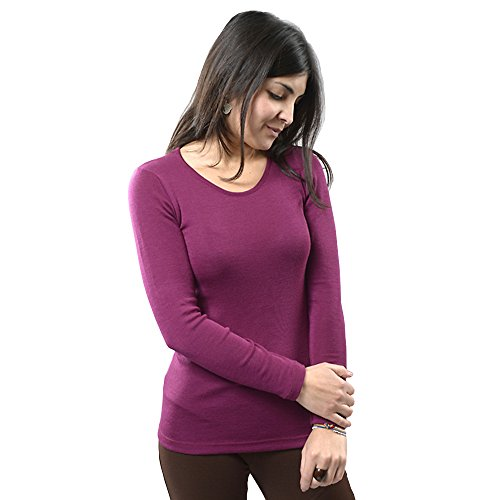 Orchid Cashmere - EcoAble Apparel Women's Thermal Shirt for Layering, 70% Organic Merino Wool 30% Silk (38-40 / Small, Orchid)