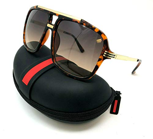 Evidence Metal & Plastic Hip Hop Flat Top Aviator Sunglasses (Brown Tortoise & Gold Frame w/Case, ()