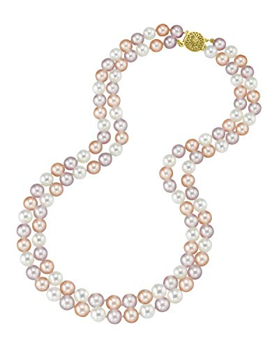 THE PEARL SOURCE 14K Gold 7-8mm AAAA Quality Round Multicolor Freshwater Cultured Pearl Double Strand Necklace for Women in 16-17