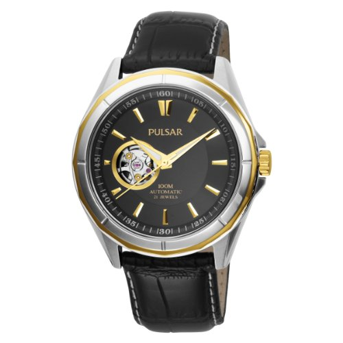 Pulsar Men's PS2002 21 Jewel Mechanical Self-Winding Battery-Free Automatic Black Leather Band Two-Tone Case Black Dial Watch