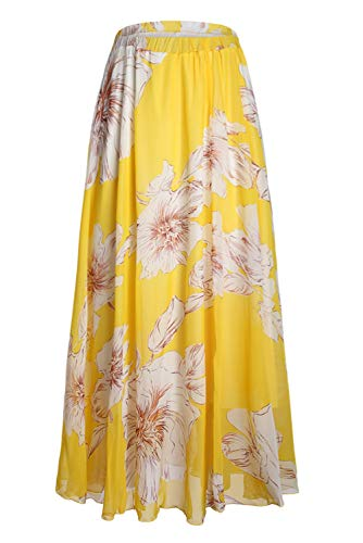 Asvivid Women's Boho Floral Print High Waist Pleated Chiffon Long Maxi Skirt