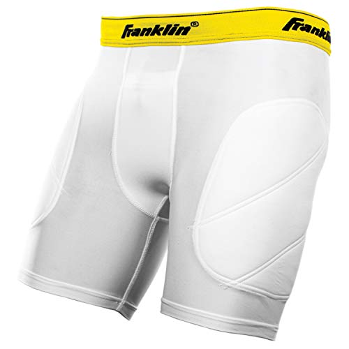 Franklin Sports Youth Baseball Sliding Shorts - Padded Slide Shorts with Cup Holder - Compression Shorts Perfect For Baseball and Softball - Large