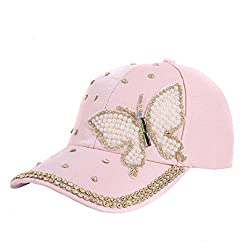 Rhinestone Butterfly Adjustable Baseball Cap