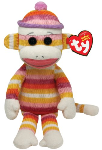 Ty Beanie Babies Sock Monkey Pastel Stripes 8