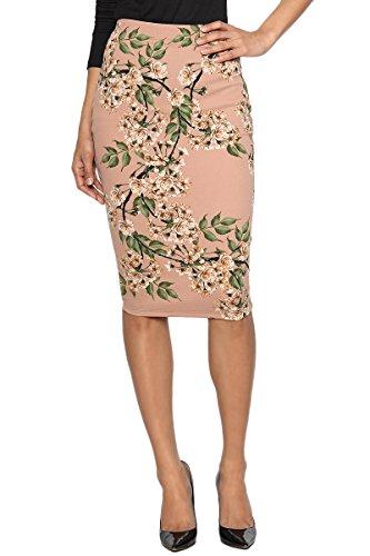 TheMogan Women's Floral Branch Print Knit Knee Length Pencil Skirt Dusty Rose S (Print Watercolor Rose Skirt)