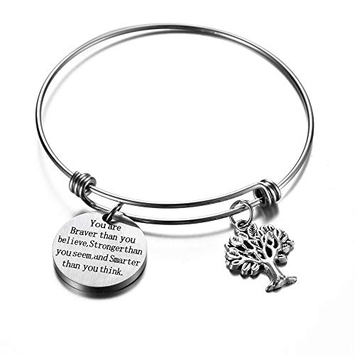 (17mile You Are Braver than You Believe Stainless Steel Adjustable Charm Engrave Wire Inspirational Bangle Bracelets Women)
