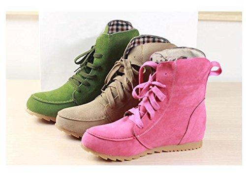 Boots Lacets Plates Femmes Vert Martin Bottes Style Neige Gaorui De Filles Bottines Hiver A automne O0vwgqWHq1