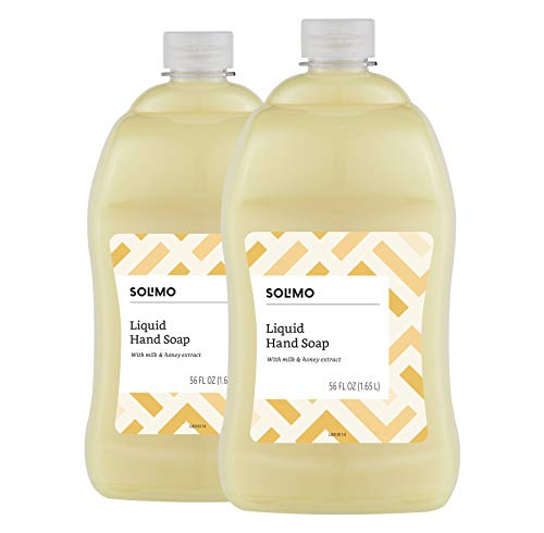 Solimo Liquid Hand Soap Refill, Milk and Honey, 56 Fluid Ounce (Pack of 2)